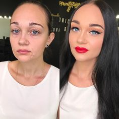 We share 30 pictures of before and after women that shows the power of makeup. These transformed women shows the skill and talent of the makeup artist that make them totally different than ever. Acne Makeup, Contour Makeup, Contouring, Big Eyelashes, Makeup Jobs, Barbie Makeup, Makeup Before And After, Power Of Makeup, Makeup Makeover