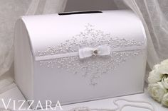 Hand PAINTED Wedding Cash Box Silver wedding White Designs perfect wedding Box For Envelopes wedding ideas Elegant Card Boxes Guest Gift