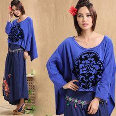 Modern Chinese Style Top - Modern Cheongsam Top - Purple Bat Sleeve T-shirt with Ruyi Print $59.99 (45,20 €)