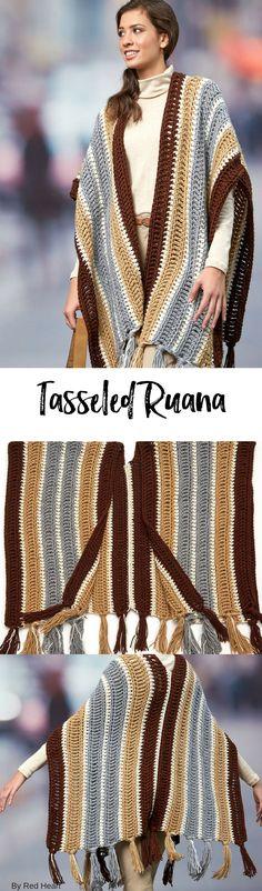Tasseled Ruana free crochet pattern in Soft.