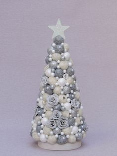 Your place to buy and sell all things handmade Christmas Topiary, Easy Christmas Decorations, Unique Christmas Trees, Pine Cone Decorations, Simple Christmas, Christmas Crafts, Hygge Christmas, Silver Christmas, Green Christmas