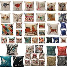 Vintage Home Decor Cotton Linen Pillow Case Sofa Waist Throw Cushion Cover #Unbranded