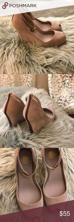 """Melissa Patchuli x Wedge Pump - Beige - Unworn Unworn Melissa Patchuli Beige Wedge Pumps! Great shoe for a wedding!                                                     -Peeptoe -Buckled ankle strap -PVC trim and sole -4"""" covered wedge -1"""" covered platform -True to size. Size down if you're a half size Melissa Shoes Wedges"""