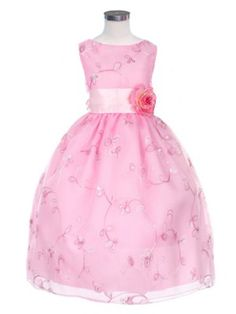 A beautiful looking dress filled with fascinating embroidery. Made with Organza overlayed skirt and front attached, tie back Satin sash over the waistline accented with a flower.