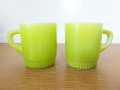 Two Anchor Hocking Fire King stackable light green mugs with ribbed bottom, oven safe by Sweetpotatojack on Etsy