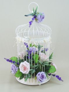 Vintage Rose and Lavender Filled Bird Cage Large - BCG006 only £33 from www.silkflowersdecoflora.co.uk