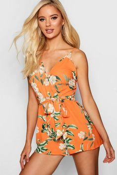 725e07d5ceef8 Floral Wrap Front Playsuit - boohoo, outfit inspo, what to wear, how to