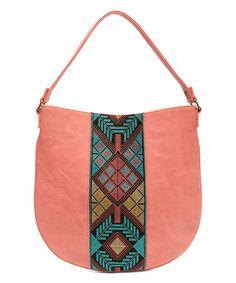 Look at this #zulilyfind! Coral Woven Hobo Bag #zulilyfinds