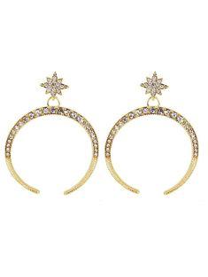 $3.86--Rhinestone Sparkly Star Moon Earrings - GOLDEN