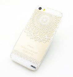 "Clear Plastic Case Cover for iPhone 6Plus (5.5"""") Mandala Sun Lace tribal vintage mayan aztec floral"