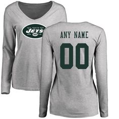 New York Jets NFL Pro Line Women's Personalized Name & Number Logo Slim Fit Long Sleeve T-Shirt - Ash