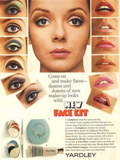 1967 Yardley ad with make up looks. eye Make up. Mod Makeup, 1960s Makeup, Retro Makeup, Makeup Inspo, Makeup Inspiration, Sixties Makeup, Makeup Kit, Vintage Makeup Ads, Vintage Beauty