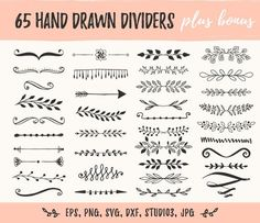 Svg flowers with stems. Identity Design, Draw Dividers, Flourish Border, Hand Drawn Border, Doodle Frames, Drawing Frames, Floral Drawing, Henna Tattoo Designs, Hand Type