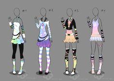 Pastel Outfit Adopts - sold by Nahemii-san.deviantart.com on @deviantART