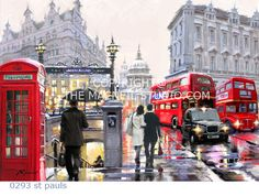 As Cores Da Arte: Richard Macneil London Street, London Art, Creation Photo, City Scene, The Masterpiece, Canvas Art Prints, Framed Canvas, Framed Prints, Beautiful Paintings