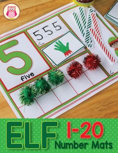 Elf math activity - teach numbers, counting, numeral formation, numeral recognition, subitizing, and constructing and deconstructing numbers with these elf themed number activity mats.... a great Christmas or elf themed math and numbers center for December. Perfect for preschool, pre-k and kindergarten classrooms.