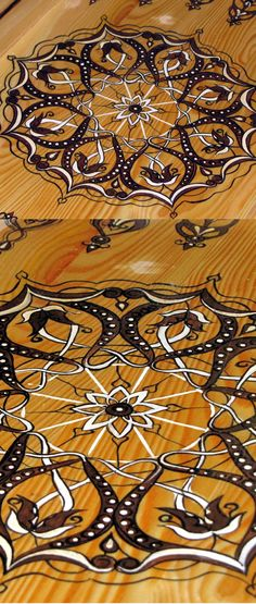 The internal hand painted signs  #hand-painted. The drawing was #designed by me based on #Arabic ornaments. You will not find this #drawing anywhere else, only on these #backgammon.