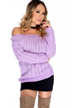 Wear this cozy casual sweater out to stay warm! It features; Cable knitted, off the shoulder neckline, long sleeves, pull over and followed by a comfy cozy fit. 100% Acrylic