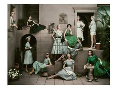 Vintage Fashion Shoot - April 1952 issue of Glamour Magazine - Photographer Frances McLaughlin-Gill creates beautiful image of 11 models in shades of emerald green Moda Vintage, Vogue Vintage, Vintage Fashion, 1950s Fashion, Vintage Couture, Vintage Glamour, Vintage Ladies, Vintage Woman, Vintage Dior