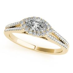 14K YELLOW GOLD EAST TO WEST MARQUISE HALO DIAMOND ENGAGEMENT RING (0.33 ctw)