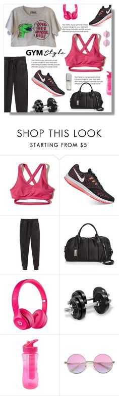 """""""Work It Out: Gym Essentials"""" by nadia-gadelmawla ❤ liked on Polyvore featuring Hollister Co., NIKE, Helmut by Helmut Lang, Sol & Selene, By Rosie Jane, simple, croptop, sweatpants, printedtop and gymessentials"""