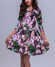 Look at this #zulilyfind! Black & Lilac Floral Fit & Flare Dress #zulilyfinds