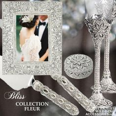 The Bliss Fleur Wedding Collection from Luxurious Wedding Accessories is encrusted with Swarovski Crystals in a Fleur design. It includes a Wedding Picture Frame, 2 Champagne Flutes, a Ring Box, and a Cake Cutting Set. Wedding Flutes, Bling Wedding, Wedding Veils, Wedding Reception, Wedding Stuff, Glamorous Wedding, Luxury Wedding, Dream Wedding, Wedding Day