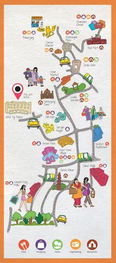 Dilli Darshan by Radhika Sant - Delhi map Delhi Map, Delhi City, Delhi India, Travel Maps, India Travel, India Gate, Vacation Wishes, Maps For Kids, New Delhi