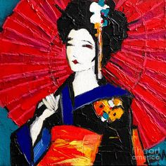 Geisha / acrylic painting on canvas by EMONA Geisha Art, Painting Competition, Japanese Art, Japanese Geisha, Japanese Kimono, Thing 1, Painting Of Girl, Cool Business Cards, Funny Tattoos