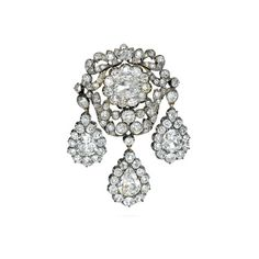 Large Antique Diamond Pendant Brooch - A La Vieille Russie ❤ liked on Polyvore featuring jewelry, brooches, brooch, jewels, fillers, accessories, antique jewelry, pendant jewelry, antique brooch and antique diamond brooch