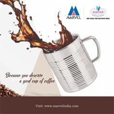 Because you deserve a good cup of coffee.  http://www.marvelindia.com/double-walled-cappuccino-mug/  Tel : +91-22-49253333 #Coffee #Mug