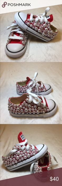 ✨Bling custom Converse✨ Bling custom converse handmade by me! Cover with pearls and diamonds. BRAND NEW never wore! Converse Shoes Sneakers