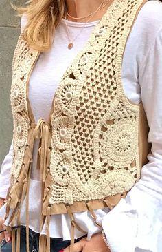 50 Gorgeous Free Crochet Cardigan Patterns for Women - Page 14 of 50 - hotcrochet .com # crochet clothes for women cardigans 50 Gorgeous Free Crochet Cardigan Patterns for Women - Page 14 of 50 - hotcrochet . Crochet Waistcoat, Crochet Cardigan Pattern, Crochet Jacket, Crochet Blouse, Crochet Dress Outfits, Crochet Toddler Dress, Crochet Clothes, Gilet Kimono, Estilo Hippie
