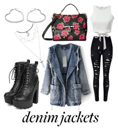 A fashion look from October 2016 featuring bandeau top, blue jean jacket and skinny jeans. Browse and shop related looks. Blue Jean Jacket, Bandeau Top, Betsey Johnson, Fashion Looks, Skinny Jeans, Lipsy, Denim, Victoria Beckham, Casetify