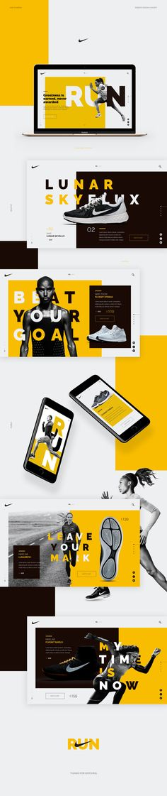 NIKE - Web Concept on Behance - Inspiration - Webdesign - Pop Design, Design Web, Webdesign Inspiration, Web Inspiration, Web Layout, Layout Design, Header Design, Website Layout, Nike Web