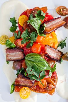 Smoked Pork Belly Salad with Microgreens, Basil, Heirloom Tomatoes and Bread Crumbs