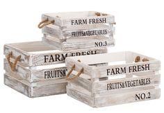 Set 3 Cajas Farm Fresh Madera Blanca 25 x 36 x 17 cm Rustic Wood Furniture, Diy Furniture, Wood Crates, Wood Boxes, Bright Toe Nails, Small Wood Projects, Diy Projects, Cardboard Design, Painted Sticks