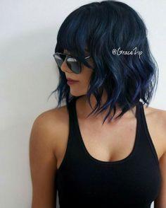 Bluish-black hair