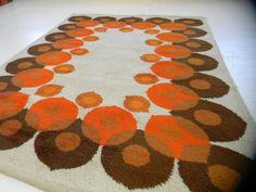 Danish modern eames era MidCentury 70s Modern Rya Rug shag vintage carpet op art