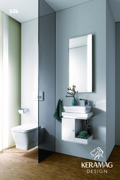 The Silk collection's wall hung WC and hand rinse by Keramag Design UK. Find more at: http://www.keramagdesign.com/