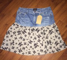 A Bit of Punk and Rhinestones  Jean Topped Skirt by reconstruKteD