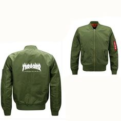 Bomber Jacket Casual Streetwear thrasher jackets windbreaker Outerwear Men Army Green trasher Merch Flight Coat 6XL men's jacket
