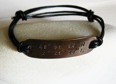 Mens Copper Bracelet Leather Bangle - Personalized Latitude Longitude Coordinates, Hand Stamped Custom Message - Men, Anniversary Gift
