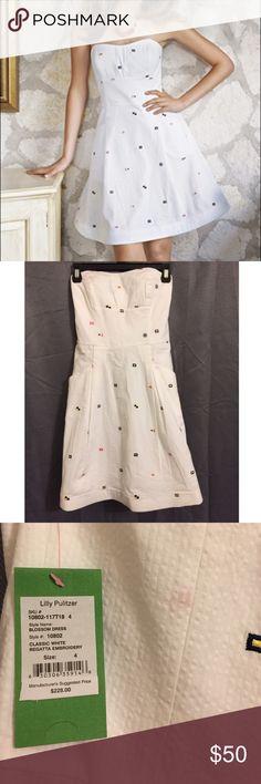 dc54c929b6da4d NWT Lilly Pulitzer Classic White Regatta Dress Classic white seer sucker In  blossom style. Embroidered. Nautical ...