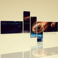 """Huge Asteroid Other Photography Print On Canvas Wall Art 5 Panels Giclee Prints, Huge Asteroid Wall Art, Living Room, Lonestar. Huge Asteroid Other Photography Print On Canvas Wall Art 5 Panels Giclee Prints Subject : Asteroid Style : Photography Panels : 5 Detail Size : 24""""x16""""x2,8""""x30""""x3 Overall Size : 76""""x44"""" = 193cm x 112cm Medium : Giclee Print On Canvas Condition : Brand New Frames : Gallery wrapped [FEATURES] Lightweight and easy to hang. High revolution giclee artwork/photograph...."""