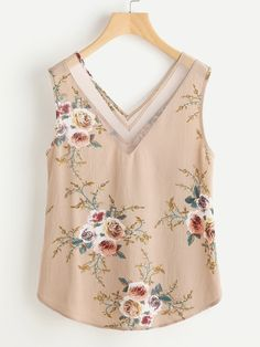 Shop Mesh Double V Neck Curved Floral Tank Top online. SheIn offers Mesh Double V Neck Curved Floral Tank Top & more to fit your fashionable needs.