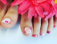 フットネイル❤ お持ち込み画像あり🐜 ピンク可愛い~~~🙌 #nail #nails #nailart #naildesign #gel #gelnails #gelart #gelnaildesign #ネイル #ジェルネイル #フットジェル #kawaii