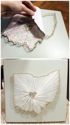 Pin and thread maps.I miss string art. I love string art. I need to do some string art. Cute Crafts, Crafts To Do, Arts And Crafts, Map Crafts, Resin Crafts, Craft Gifts, Diy Gifts, Handmade Gifts, Diy Projects To Try