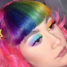 Arctic Fox hair color is vibrant, long-lasting, semi-permanent hair dye that is made in the USA. Rainbow Eyes, Rainbow Makeup, Rainbow Hair, Cassidy Nicole, Hair Inspo, Hair Inspiration, Arctic Fox Hair Color, Bob With Bangs, Luscious Hair