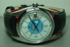VINTAGE ROLEX OYSTERDATE PRECISION 6694 SWISS MENS BLUE n WHITE DIAL WATCH WBST - 1960s?